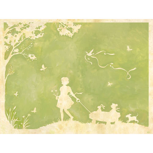 Oopsy Daisy - Toile Girl Pulling Wagon Canvas Wall Art 24x18, Heather Gentile-Collins