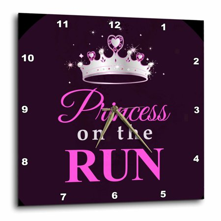 3dRose Princess on the Run - Black - Hot pink text - silver tiara crown - girl runner running race racing, Wall Clock, 10 by 10-inch