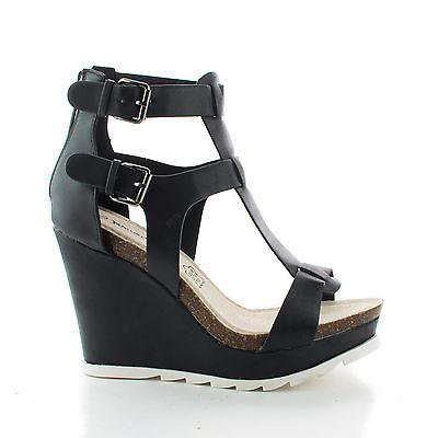 Outlook02 by Bamboo, Open Toe Buckle T-Strap Cut Out Platform High Wedge Heels