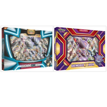 Pokemon Lucario GX Collection Box and Gengar EX Box Trading Card Game Collection Box Bundle, 1 of Each. Great Variety Gift Set For Boys or - Natural Gift Pokemon