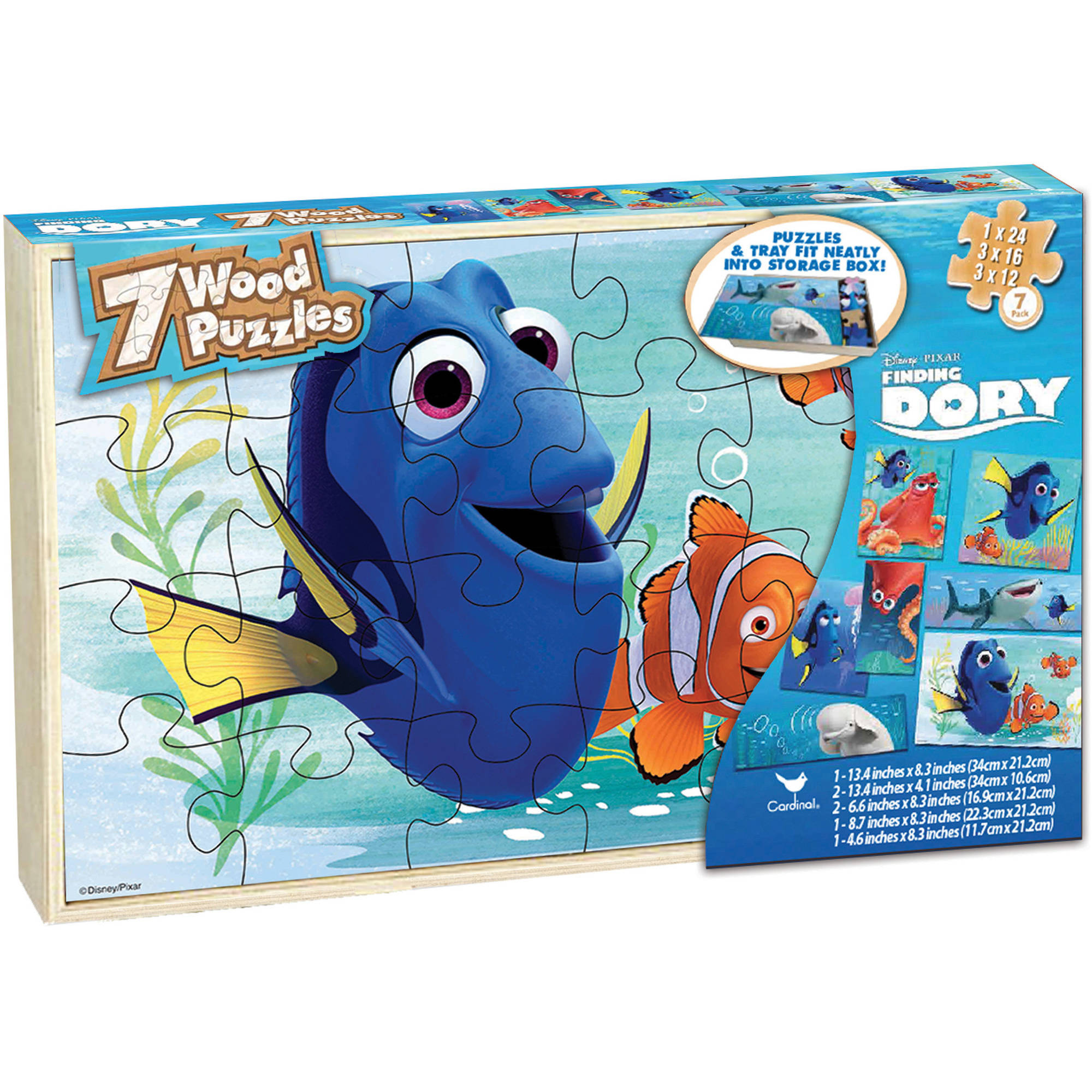 Disney Finding Dory Set of 7 Wood Jigsaw Puzzles in Wood Storage Box