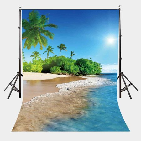Greendecor Polyster 5x7ft Summer Natural Beach Backdrop Bright Sunshine Tropical Scenery Photography Background For Wedding