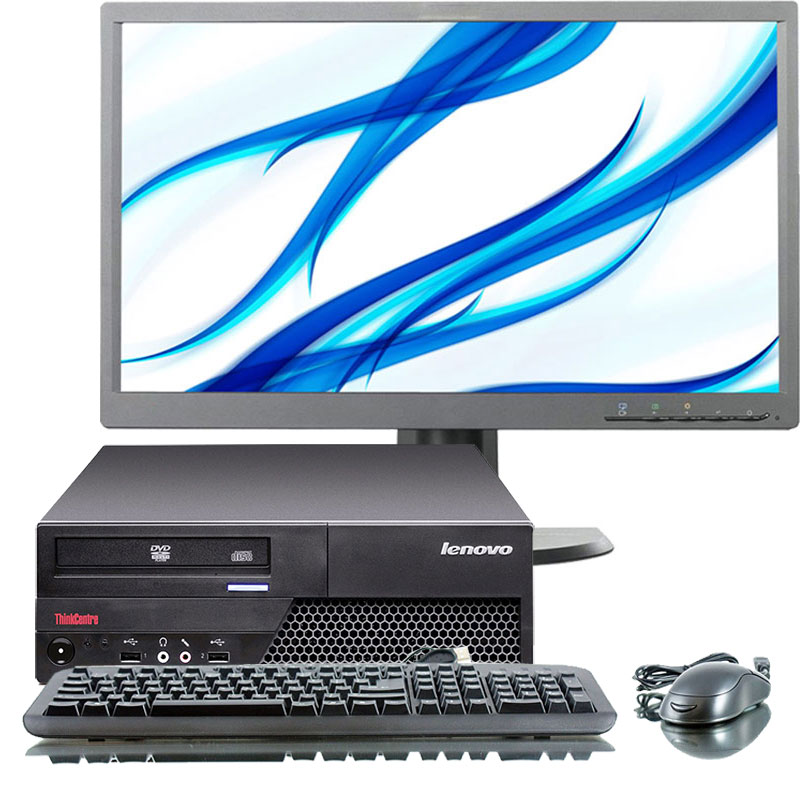 "Refurbished Lenovo ThinkCentre M58p 2.9GHz C2D 4GB 160GB DVD Win Pro 64 SFF Computer+22"" LCD"