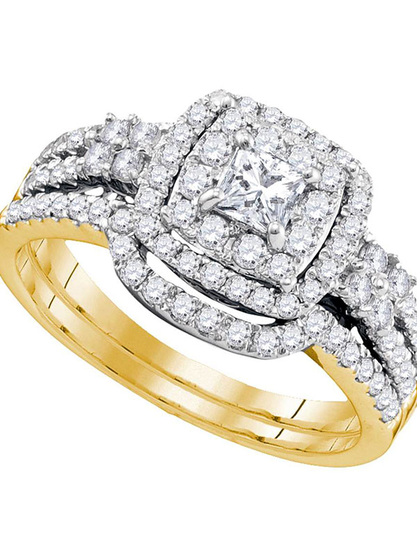 14k Yellow Gold Womens Princess Diamond Halo Bridal Wedding Engagement Ring Band Set 1 Cttw by GND