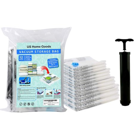 US Home Goods Travel Vacuum Storage Bagsof Original Space. Thicker and Stronger Space Saver Bags+ Free Hand Pump for Travel Use. (12 Pack: 3 x Small, 3 x Middle, 3 x Large, 3 x Jum)