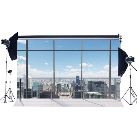 ABPHOTO Polyester 7x5ft Office Room Backdrop American New York City Business Street View Skyscraper French Sash Blue Sky White Cloud Sunshine Photography Background for Person Photo Studio Props](Halloween Props New York City)
