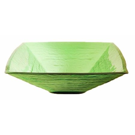 - SAUNA Green Square Frosted Glass Vessel Sink  18.25 Inches Wide  Green