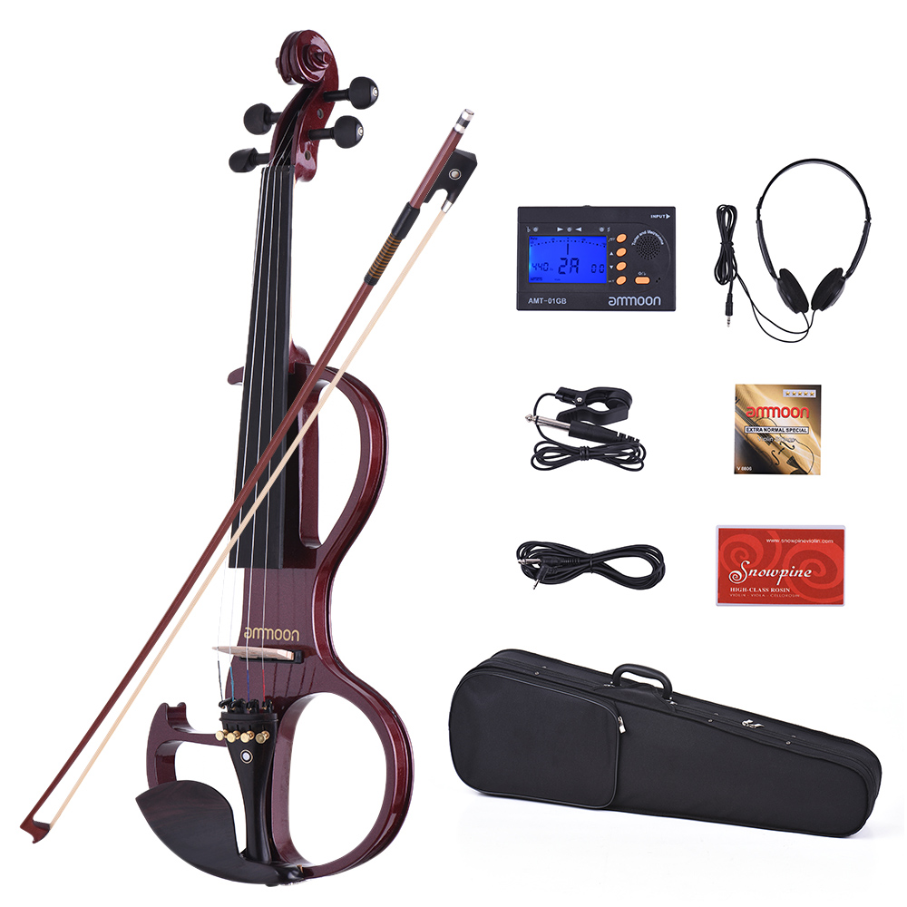 ammoon VE-207 Full Size 4 4 Solid Wood Silent Electric Violin Fiddle Maple Body Ebony... by