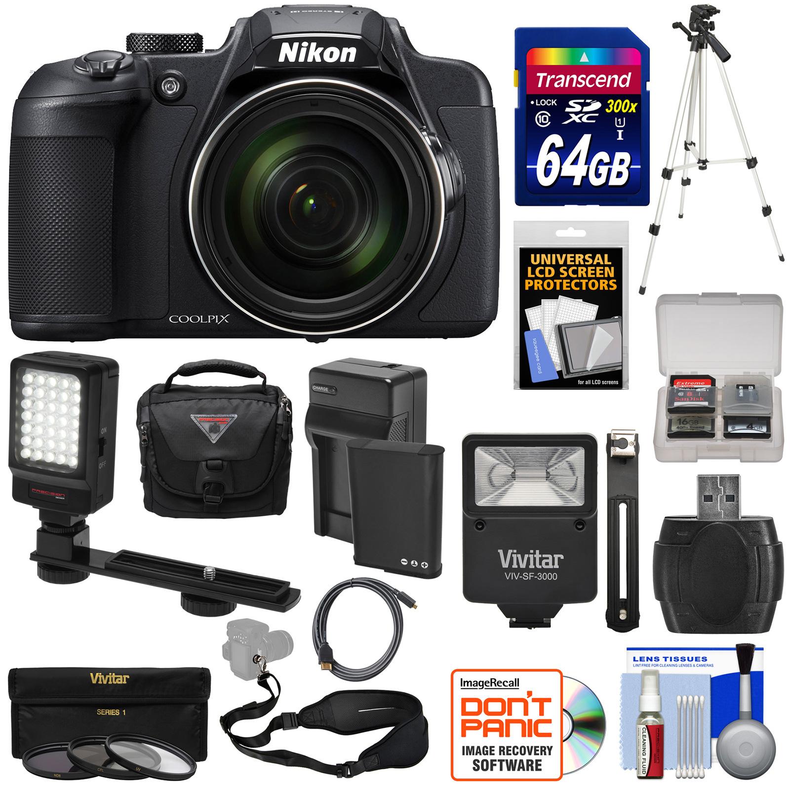 Nikon Coolpix B700 4K Wi-Fi Digital Camera with 64GB Card + Battery & Charger + Case + Flash + LED + Strap + Tripod + 3 Filters + Kit Coolpix