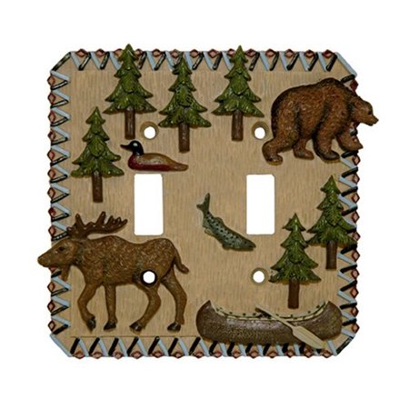 MOOSE bear Double Light SWITCHPLATE lodge switch plate by Bu Inc. ()