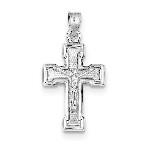 Sterling Silver Rhodium-Plated Hollow Latin Crucifix Pendant