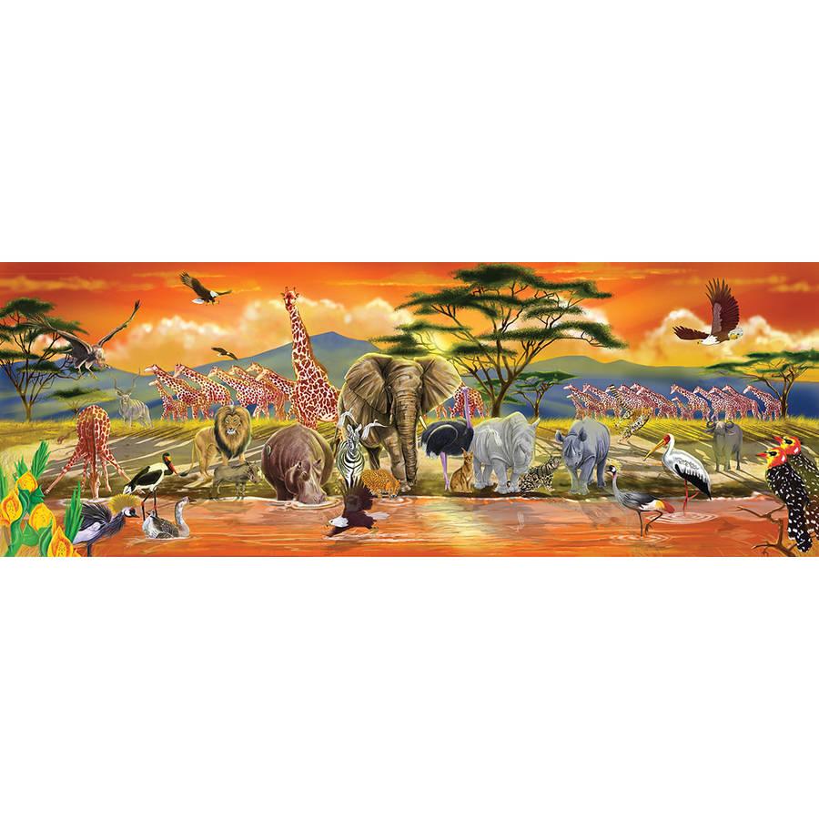 Preschool, Sturdy Wooden Construction, 100 Pieces, Over 4 Feet Long Melissa /& Doug African Plains Safari Jumbo Jigsaw Floor Puzzle