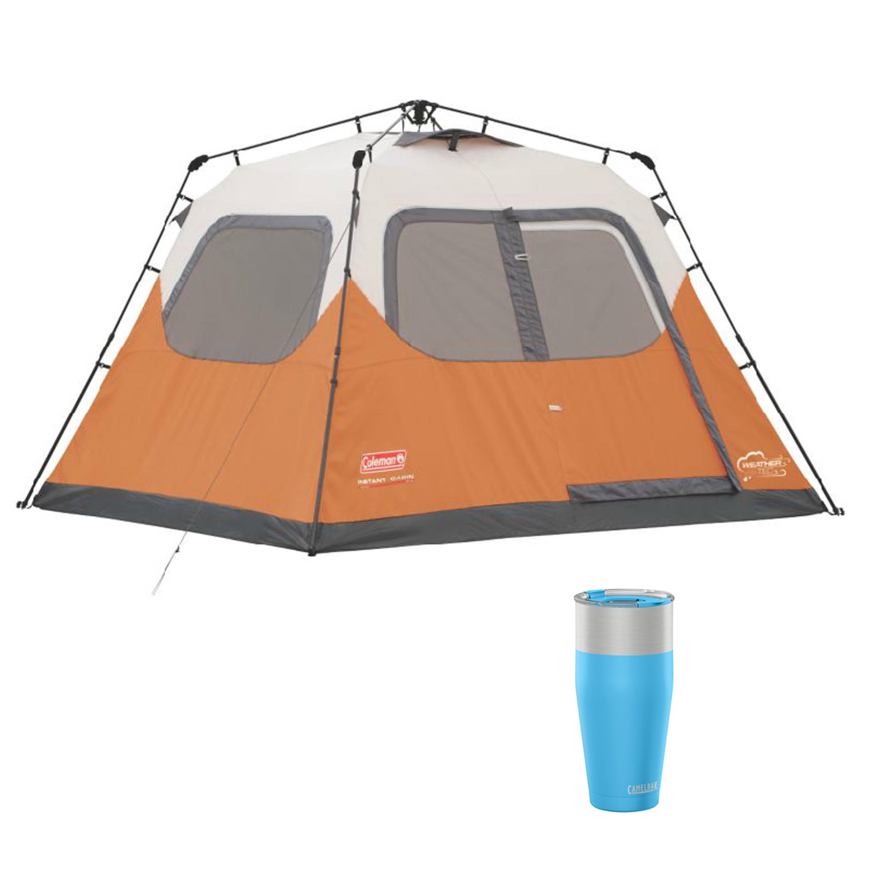 Coleman Outdoor 6 Person Instant Family Camping Tent & CamelBak 30 Oz Tumbler