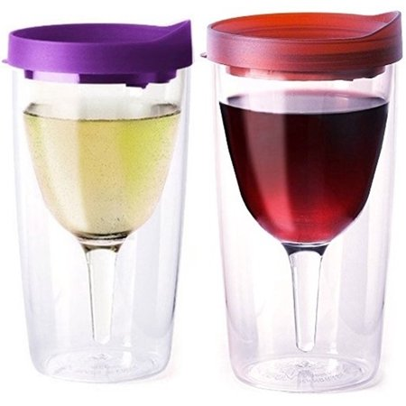 Vino2Go Double Wall Insulated Acrylic Wine Cup Tumbler with Purple and Merlot Slide Top Lid, 10 oz, Pack of 2 ()
