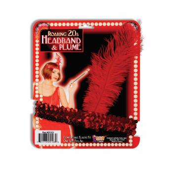 Flapper Headband Red With Red Feather Halloween Costume Accessory - Red Flapper