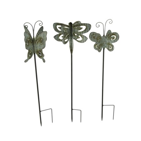 Corrugated Metal 3D Butterfly Garden Stakes Set of 3 Garden Stake 3d Metal
