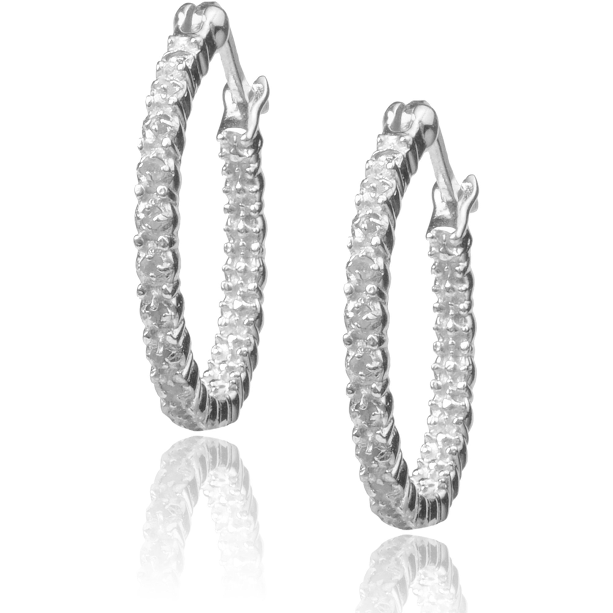 Brinley Co. Women's 1 Carat T.W. Diamond Sterling Silver Hoop Earrings, Silver