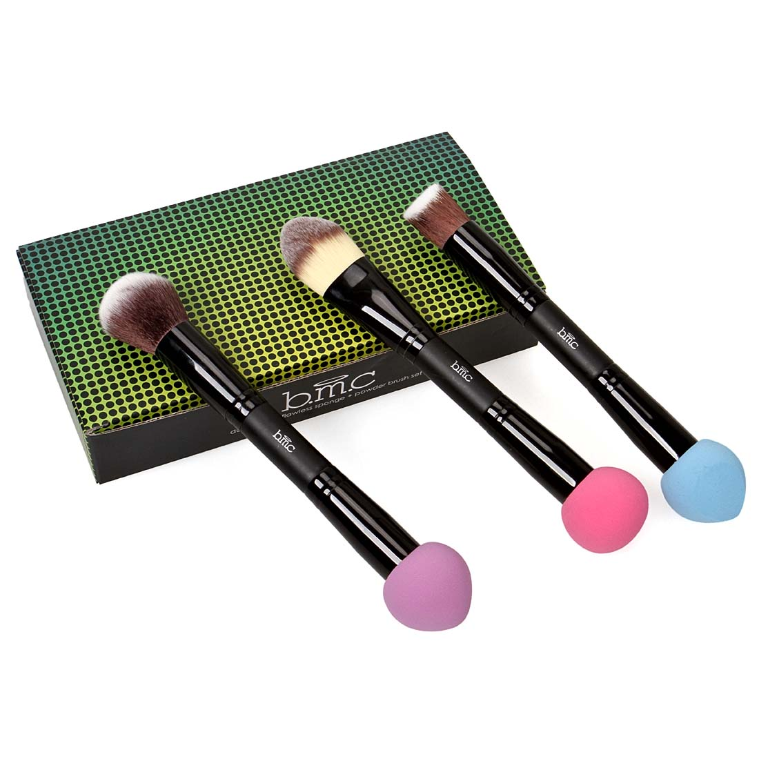 Maniology (formerly bmc) 3pc Womens Dual End Latex Free Blender Sponge Synthetic Hair Makeup Brushes