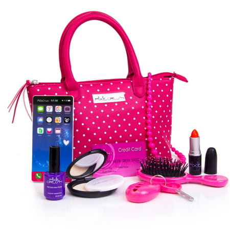 PixieCrush Pretend Play Kid Purse Set for Girls with Handbag, Pretend Smart Phone, Keys With Remote, Pretend Makeup, Lipstick – Interactive & Educational Toy