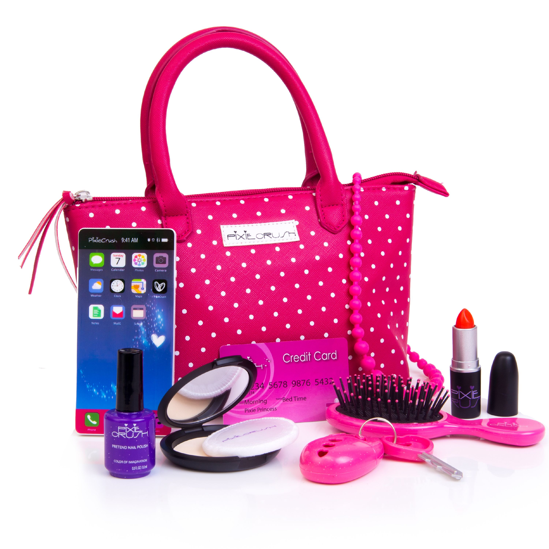 PixieCrush Pretend Play Kid Purse Set for Girls with Handbag, Pretend Smart Phone, Keys With Remote, Pretend Makeup, Lipstick – Interactive & Educational Toy