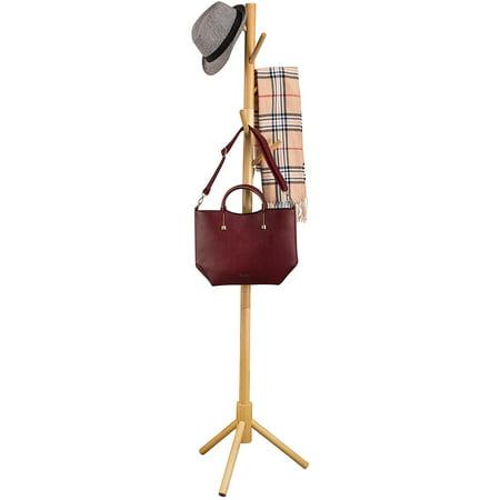 Zober Wooden Free Standing Coat Rack with 6 Hooks, 69 1/2