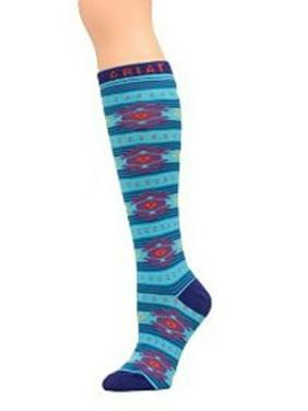 Ariat Women's Blue Aztec Knee High Socks A10012153