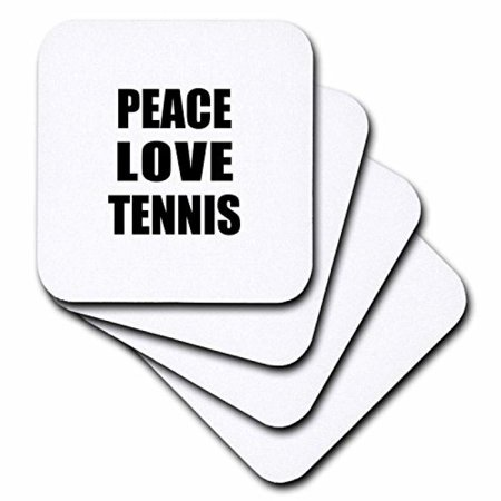 3dRose Peace Love and Tennis - Things that make me happy - Sport player gift, Ceramic Tile Coasters, set of 4 Player Gift Set