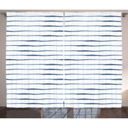 Harbour Stripe Curtains 2 Panels Set, Abstract Brushstroke Nautical Ocean Horizontal Lines Soft Picture, Window Drapes for Living Room Bedroom, 108W X 108L Inches, Night Blue White, by