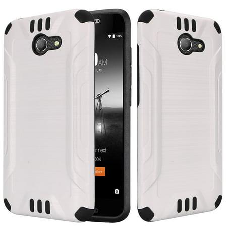 For Alcatel Kora A30 Zip LTE Slim Armor Brushed Metal Design Hybrid PC TPU Hard Plastic/Soft Silicone Case Cover - White/Black