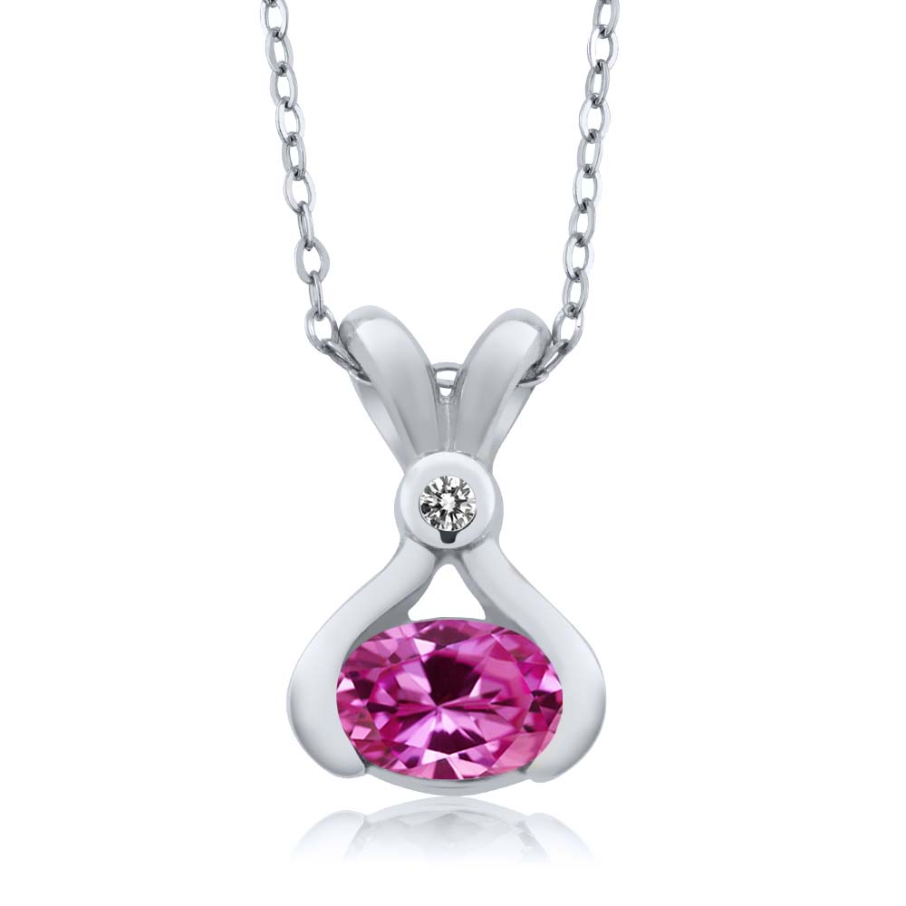 0.93 Ct Oval Pink Created Sapphire White Diamond 18K White Gold Pendant by