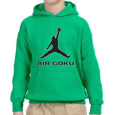 Trendy USA 629 - Youth Hoodie Air Goku DBZ Dragon Ball Z Jordan Parody Unisex Pullover Sweatshirt Small Kelly
