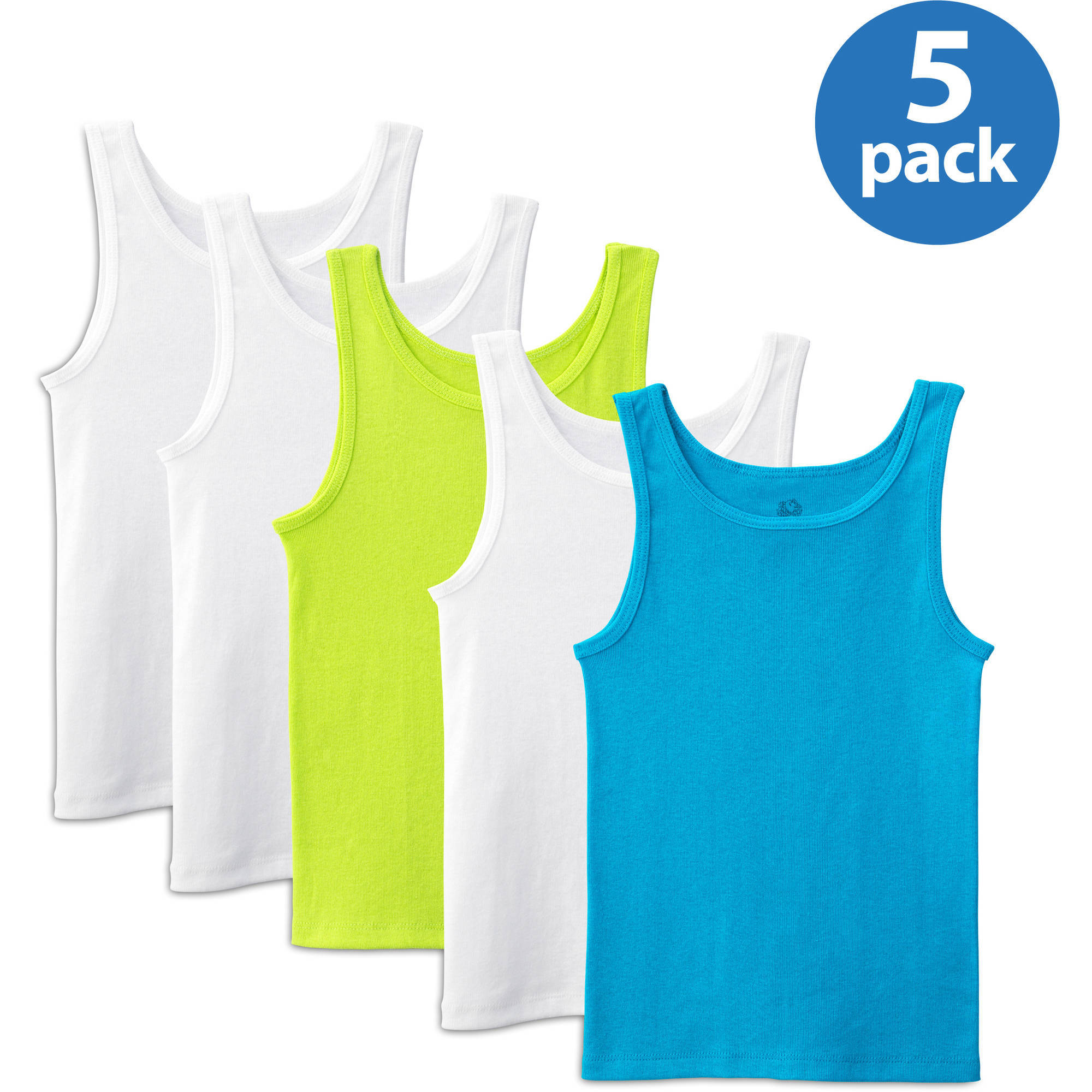 Fruit of the Loom Girls' 100% Cotton Solid Tank Tops, 5-Pack