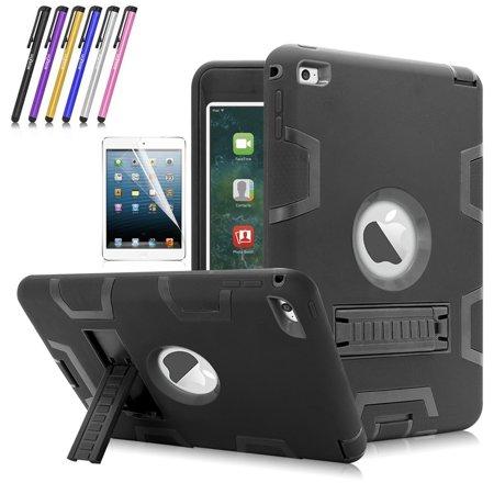 iPad Mini 4 Case, Mignova Heavy Duty rugged impact Hybrid Protective Case with Build In Kickstand For Apple iPad Mini 4 + Screen Protector Film and Stylus Pen (Black / Black) ()
