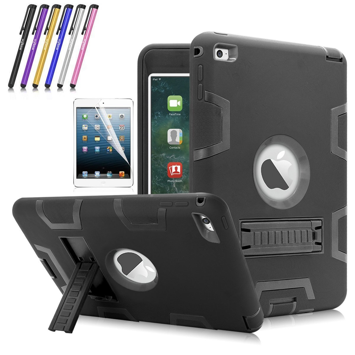 iPad Mini 4 Case, Mignova Heavy Duty rugged impact Hybrid Protective Case with Build In Kickstand For Apple iPad Mini 4 + Screen Protector Film and Stylus Pen (Black / Black)
