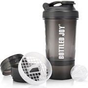 BOTTLED JOY Protein Shaker Bottle with 4-Layer Twist and Lock Storage, 100% BPA-Free Leak Proof SportMixer Fitness Sports Nutrition Supplements Non-slip Mix Shake Bottle 700ml (Grey)
