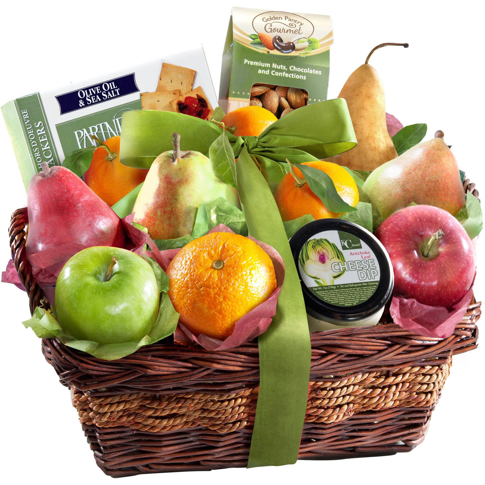 Golden State Fruit Cheese and Nuts Delight Fruit Basket, 14 pc