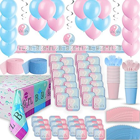 Gender Reveal Party Supplies for 24 - Two Size Plates + Cups + Napkins + Cutlery + Tablecloths, Balloons + Banner + Hanging Decorations + Streamers. - Ultimate Party Supply & Decorations Pack - Prehistoric Party Supplies