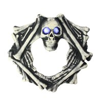 "Northlight 18.5"" Prelit Eyes in Skull Head and Skeletal Body Wreath Halloween Decoration - Black/Ivory"