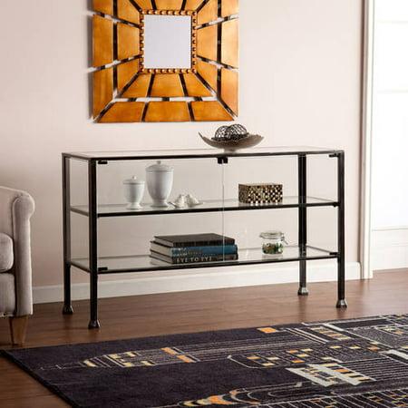 Southern Enterprises Hailey Metal/Glass Terrarium Display Curio/Console, Distressed Black ()