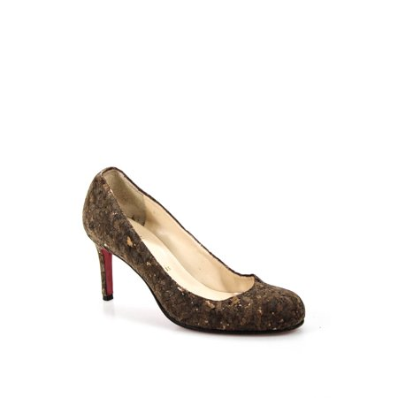 Pre-owned|Christian Louboutin Womens Cork Round Toe Pumps Brown Size 35 5