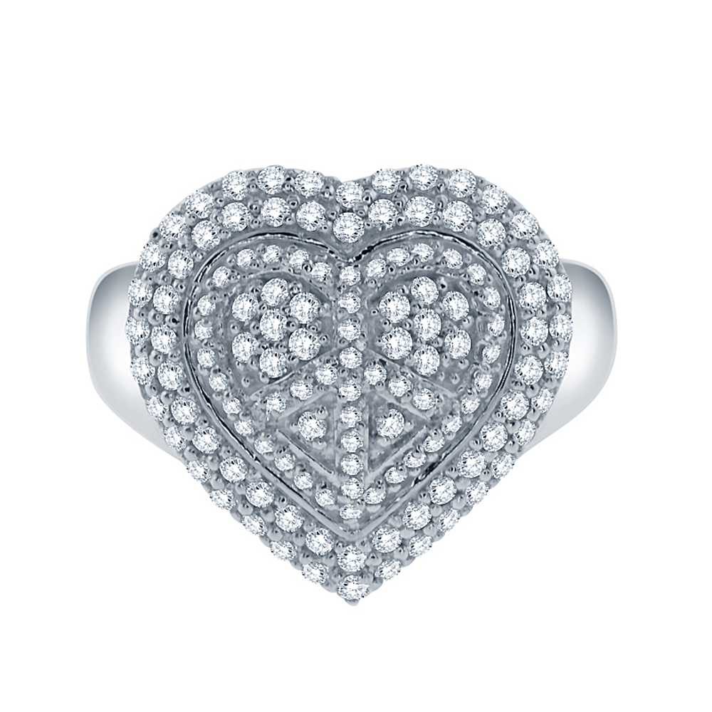 1.44 Ct Stunning White Zirconia Sterling Silver Heart Shape Peace Sign Ring