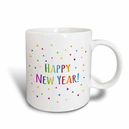 3dRose Happy New Year colorful rainbow text and multicolor confetti triangles, Ceramic Mug, - Rainbow Triangle