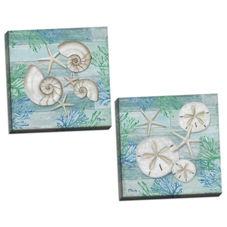 Gango Home Decor Shell, Sand Dollar & Starfish Nautical Coastal Beach Wall Art by Paul Brent; Two Blue 12x12in Hand-Stretched Canvases (Ready to Hang) - Starfish Fruit