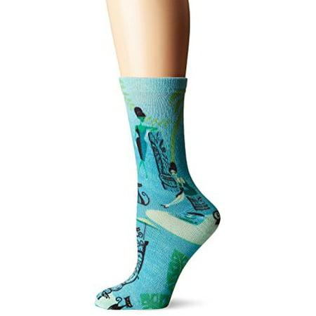 Women's Crew Socks - K Bell - Conga Ladies 360 Print SHAG Teal - image 1 de 1