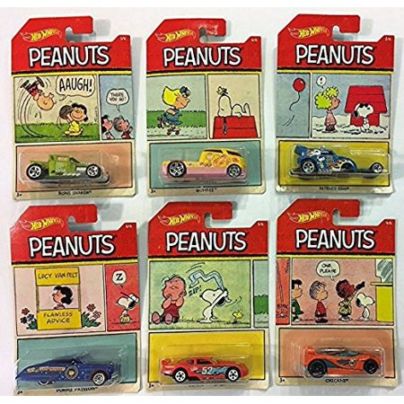 Hot Wheels Value (2017 hot wheels peanuts complete set of 6 : charlie brown (bone shaker), snoopy (altred ego), lucy (purple passion), franklin (chicane), linus (circle tracker), sally)