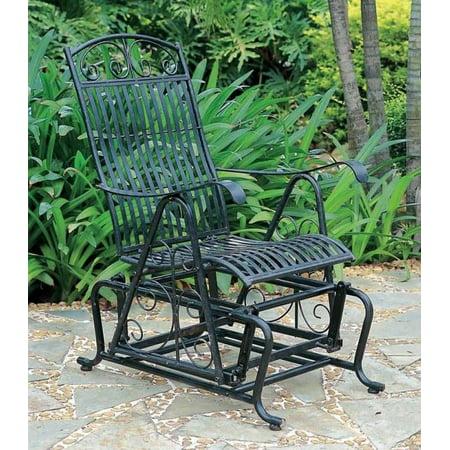 Iron Outdoor Single Patio Glider Chair ()