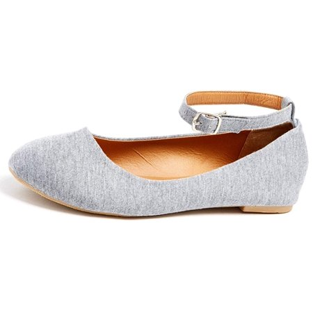 Womens Flats Jersey Soft and Faux Vegan Leather Comfortable Basic Canvas Slip On Ballet Shoes Dress Shoes (10, Grey)