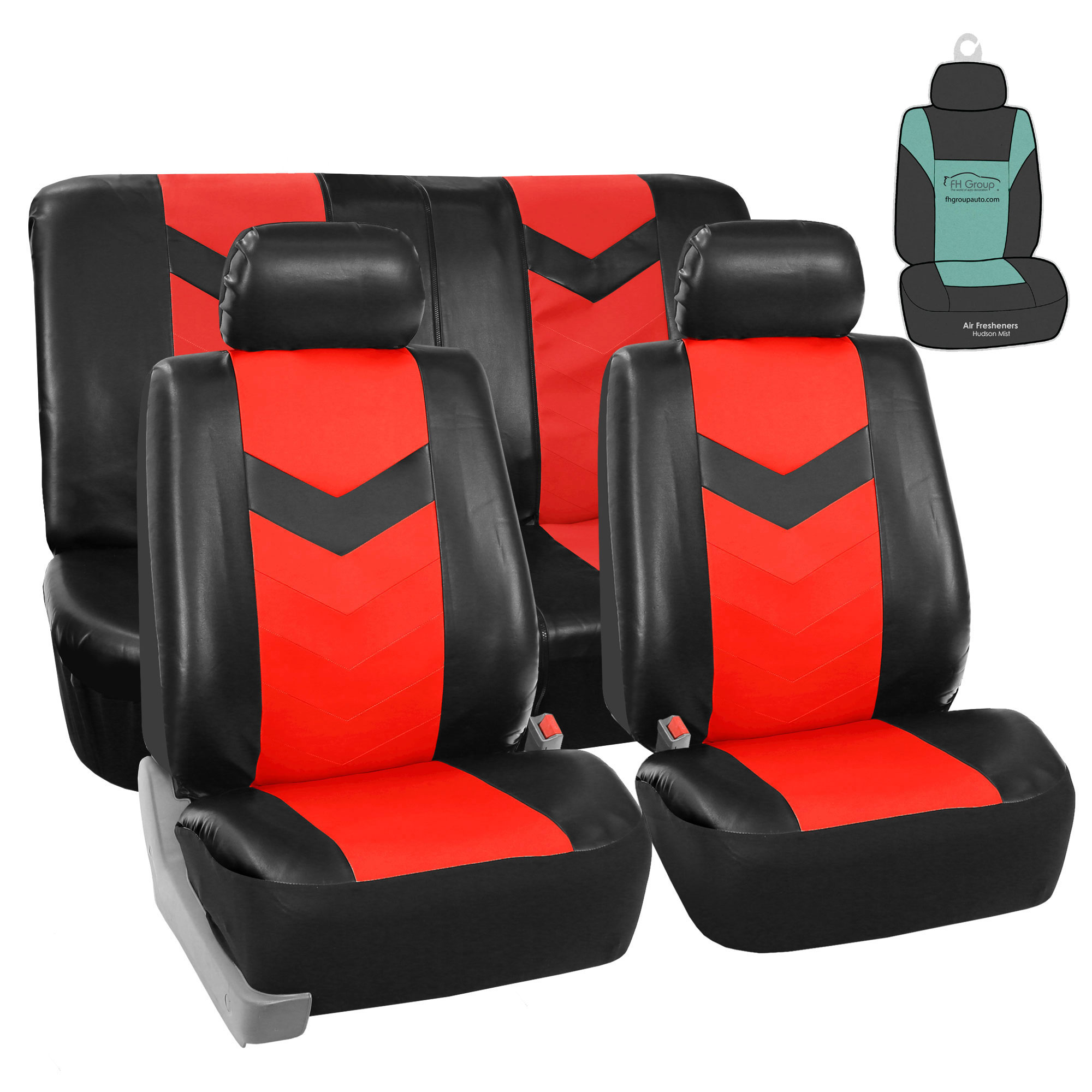 FH Gorup PU Leather Seat Covers For Auto Car SUV Red Black w/ Accessories / Free Gift