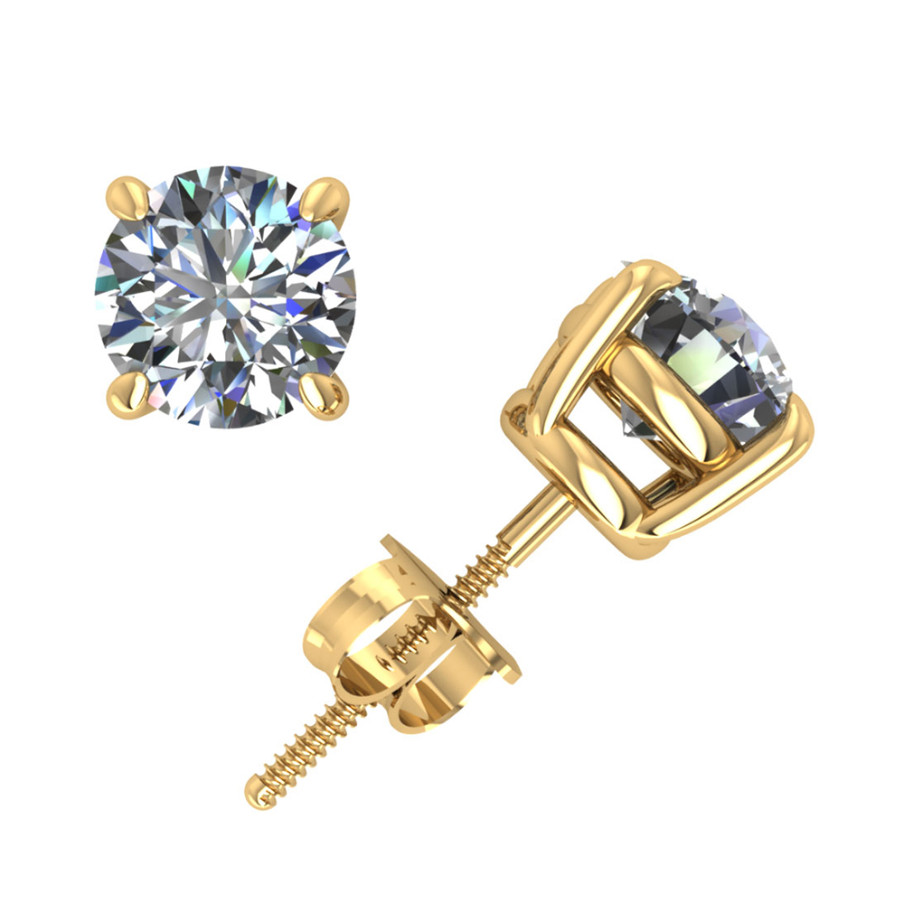 Genuine 1.50Ct Round Diamond Basket Stud Earrings 18k Yellow Gold Prong ScrewBack H SI2