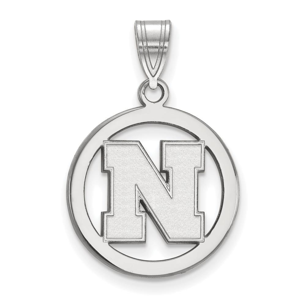 Nebraska Small (1/2 Inch) Pendant in Circle (Sterling Silver)